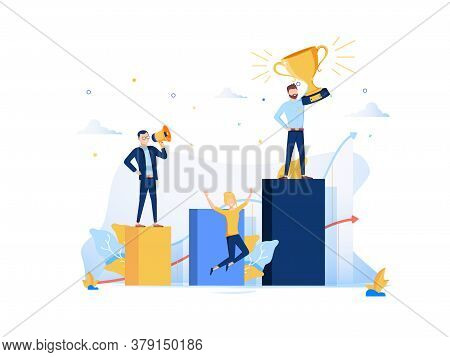 Vector Illustration, People Run To Their Goal On The Column Of Columns, Move Up Motivation, The Path