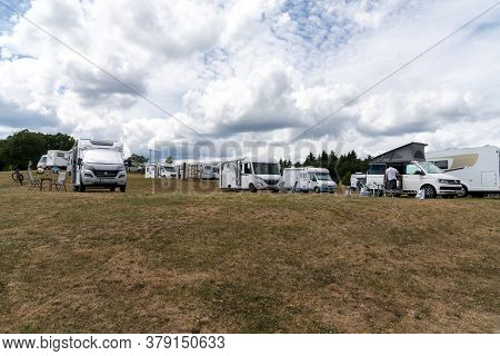 Oberbrombach, Rp / Germany - 26 July 2020: The Prize-winning Rv Park In Oberbrombach In The Rhinelan