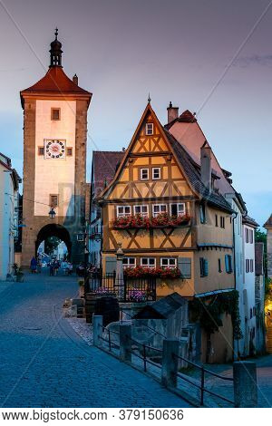 Rothenburg Ob Der Tauber, Bavaria / Germany - 23 July 2020: Historic Buildings In The Old City Cente