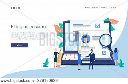 Vector Illustration, Small People Fill Out The Form, Modern Concept For Web Banners, Infographics, W