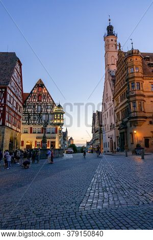 Rothenburg Ob Der Tauber, Bavaria / Germany - 23 July 2020: People Enjoy A Beautiful Summer Evening
