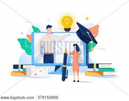 Educational Web Seminar, Internet Classes, Professional Personal Teacher Service Icons Set. Webinar,