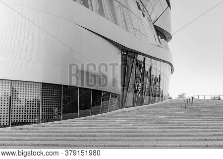 Stuttgart, Bw / Germany - 21 July 2020: Black And White Detail View Of The Mercedes-benz Museum In S