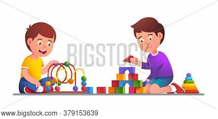 Kids Playing Maze Roller Coaster, Wooden Blocks