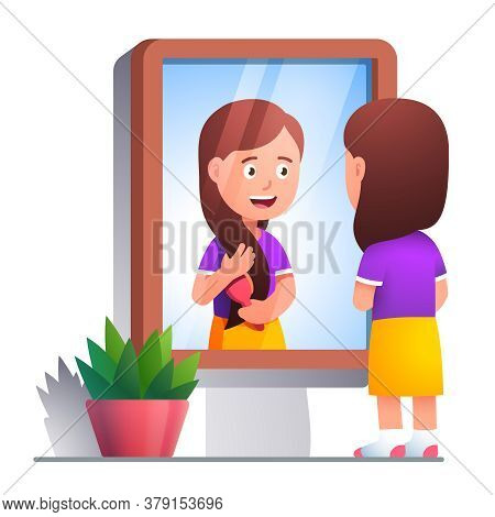Girl Brushing Hair With Comb In Front Of Mirror