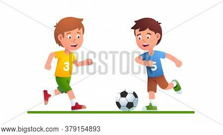 Boys Playing Soccer Game Together. Junior Football