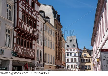 Trier, Rp / Germany - 29 July 2020: View Of The Historic Old Cit Of Trier On The Mosel