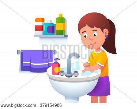 Kid Girl Washing Hands At Washbowl Sink Basin