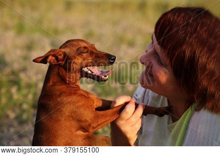 A Smiling Woman And A Dog Look At Each Other. Close Up. A Happy Woman Looks At Her Pet. The Friendsh