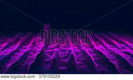 Musical Abstract Sound Wave On Blue Background. Digital Equalizer For Music. Music Background Equali