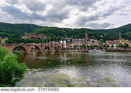 Heidelberg, Bw / Germany - 25 July 2020: View Of The Historic Old Town Of Heidelberg With The Pedest