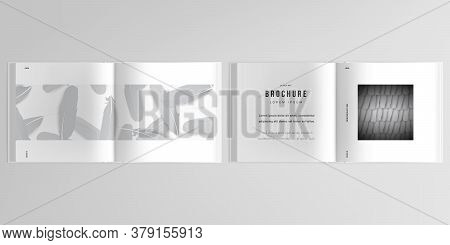 3d Realistic Vector Layout Of Cover Mockup Templates For Bifold Square Brochure, Flyer, Cover Design