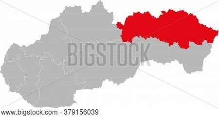 Presov Region Isolated On Slovakia Map. Gray Background. Backgrounds And Wallpapers.