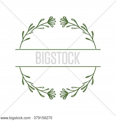 Round Wreath With A Burst For Text Or Monogram. Split Monogram. Floral Frame With Linear Elements In