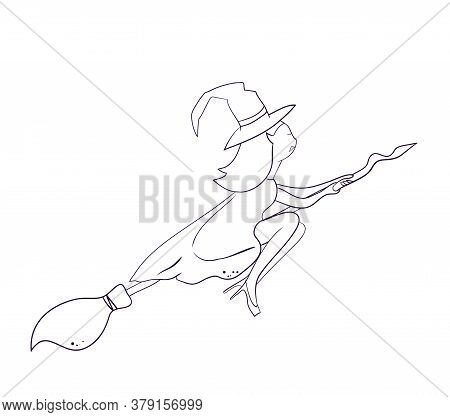 Outline Silhouette Of A Witch Vampire Flying On A Broomstick. Template For The Halloween. Mystical I