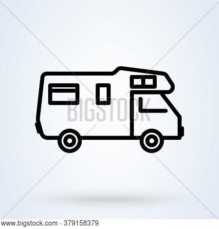 Caravans Flat Icon. Single High Quality Outline Symbol Of Recreation For Web Design Or Mobile App. T