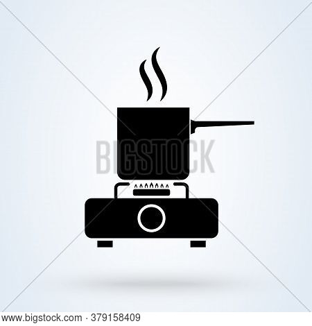 Cookware On Gas Stove. Pans With Boiling Water, Opened And Closed Pan Lid On Gas Stove, Fire And Ste
