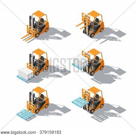 Isometric Set Forklift Truck With Pallet And Boxes Isolated On White Background. Fork Loader, Logist