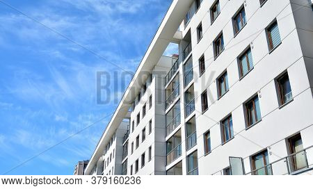 Modern Apartment Building. Balconies At Apartment Residential Building. Residential Architecture.