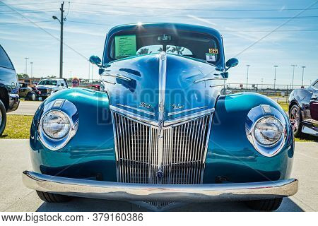 Daytona Beach, Fl / Usa - March 25, 2018: 1939 Ford Deluxe Coupe At The Spring 2018 Daytona Turkey R