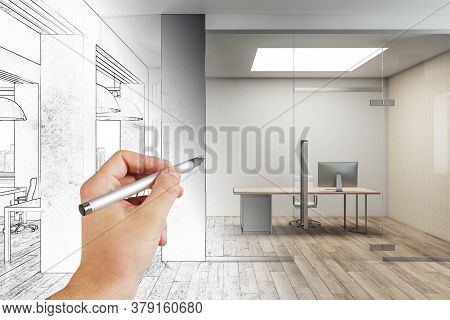 Hand With Pen Drawn Meeting Room Office Interior With City View And Daylight. Architecture And Drawi