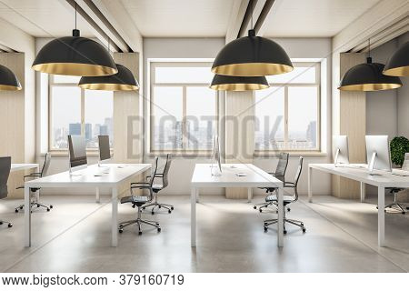 Modern Coworking Office Interior With City View, Daylight, Furniture, Equipment And Reflections. 3d