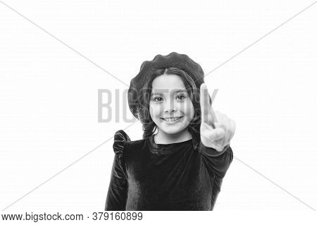 Push The Button. Happy Girl. French Style Child. Parisian Girl In Beret. Fashion Portrait Cute Girl