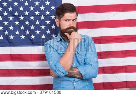 God Bless America. Bearded Man Celebrate Freedom. Patriotic Education. Legal System In America. Conf