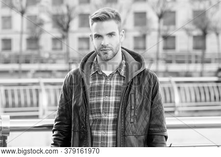 In His Own Style. Handsome Guy In Autumn Style. Caucasian Man On Urban Outdoors. Fashion Style. Urba