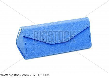 Eyewear Shopping Blue Gift Box From Eco Material Of Cardboard Triangular Shape On A White Background
