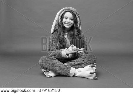 Lovely Child. Rest And Relax. Cute Bunny Kid. Baby Animal Character. Girl In Bunny Costume Funny Sli
