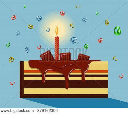 An Appetizing Piece Of Birthday Cake Drizzled With Chocolate Syrup And Decorated With Chocolate Bars