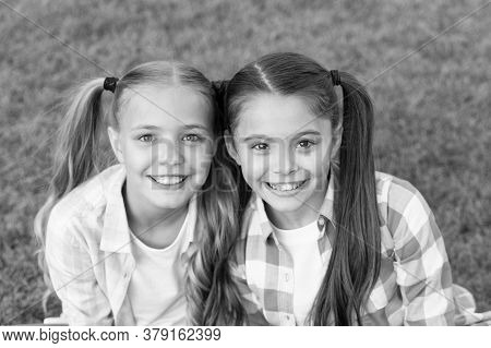 Beauty Is Whatever Brings Joy. Beauty Look Of Small Girls. Happy Kids With Long Hair Tails. Beauty S