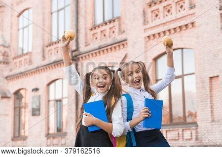 Students Girls Classmates With Backpacks Having School Lunch, Child Care Concept.