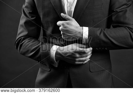 Correct Sleeve Length. Every Detail Matters. Jacket Perfect Fit. Business Style Formal Dress Code. M