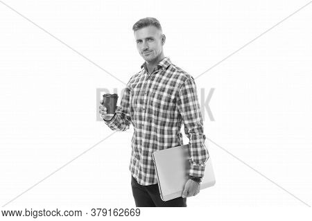 On My Way To Success. Handsome Man Enjoying Coffee To Go. Happy Hipster Holding Laptop And Coffee Cu