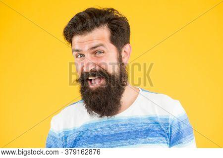 Hairdresser Salon. Fancy Mustache. Male Portrait. Summer Style. Man Bearded Stylish Beard Yellow Bac