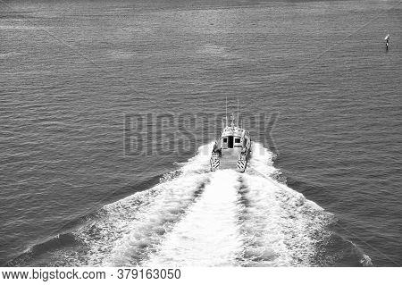 Miami, Usa - February 29, 2016: Boat In Sea. Fast Vessel. Maritime Transport And Transportation. Adv