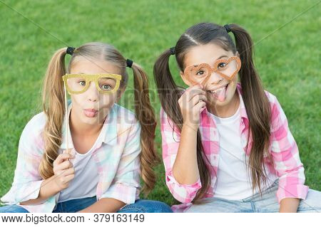 Carefree Kids Photo Booth Props Funny Eyewear Outdoors, Summer Holidays Concept.