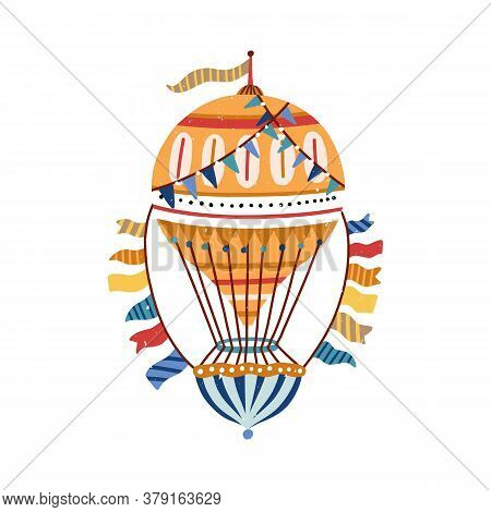Vintage, Victorian, Striped, Yellow Hand Drawn Air Hot Balloon. Flying Ornamented, Cute, Childish Ae