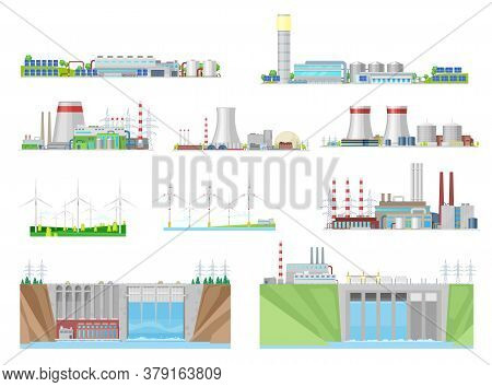 Power Plant And Energy Station Building Vector Icons Of Nuclear, Coal, Hydroelectric, Wind And Therm