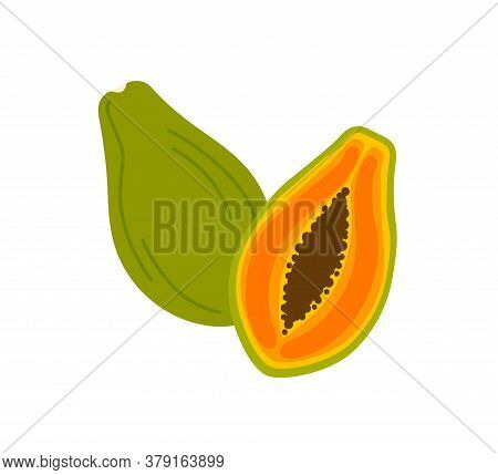 Ripe Papaya Cross Section, Half And Whole Exotic Delicious Fruit With Black Seeds. Flat Vector Carto