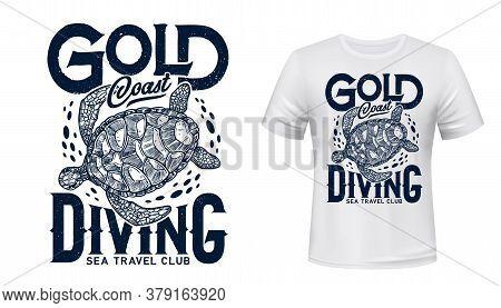 Sea Turtle Reptile Animal T-shirt Print Vector Mockup. Sea Travel And Underwater Diving Sport Club C