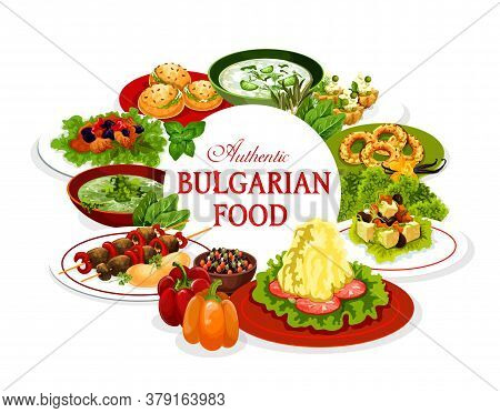Bulgarian Food, Vector Meal Of Vegetable And Meat Dishes. Yogurt Cold Soup Tarator, Lamb Kebapcheta