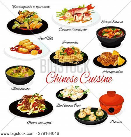 Chinese Cuisine Food With Vector Asian Dishes Of Seafood And Meat Noodles, Steamed Fish And Buns Bao