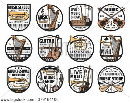 Musical Instruments And Notes, Music Vector Icons. Isolated Badges With Piano, Harp And Guitar, Trum