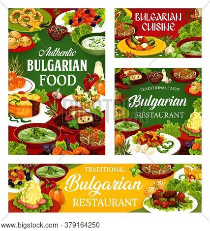 Bulgarian Restaurant Food Vector Design Of Vegetable And Meat Meal With Dessert Dishes. Yogurt Soup