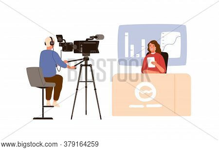 Cameraman And Correspondent Woman Reporting Latest News At Newcast Studio. On Air Journalist People.