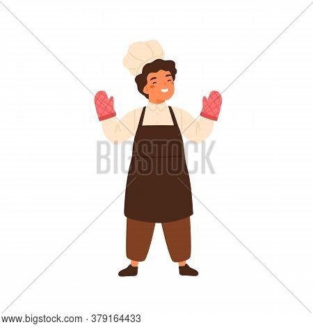 Adorable Chief Cook Portrait. Cute Little Boy In Professional Baker Uniform. Children In Apron, Toqu