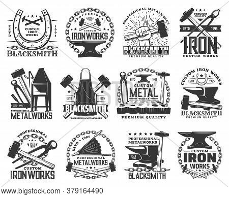 Blacksmith, Metal Or Iron Work Vector Icons With Metalworking Tools. Anvils, Forge Hammers And Sladg